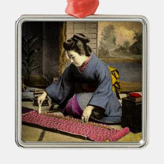Vintage Geisha Preparing Her Kimono in Old Japan Silver-Colored Square Ornament