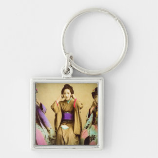 Vintage Geisha See No Evil Old Japan Silver-Colored Square Keychain