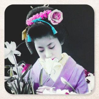 Vintage Geisha Sniffing a White Lily 白百合 Square Paper Coaster