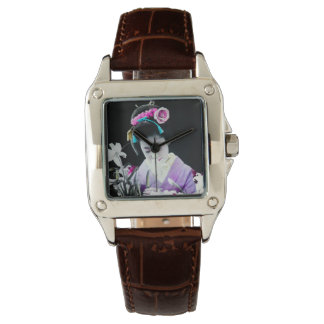 Vintage Geisha Sniffing a White Lily 白百合 Wrist Watch