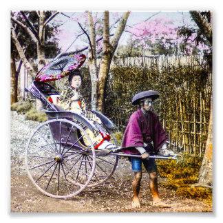 Vintage Geisha Traveling in Rickshaw Old Japan Photo Print