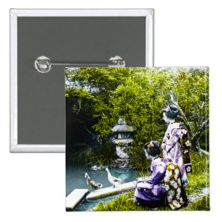 Vintage Geisha Watching Ducks in Park Old Japan 2 Inch Square Button