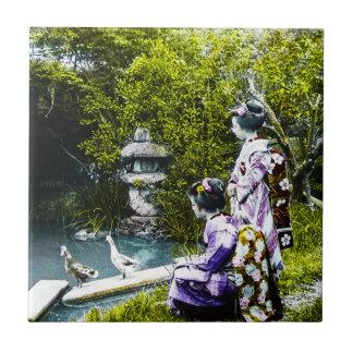 Vintage Geisha Watching Ducks in Park Old Japan Ceramic Tiles