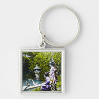 Vintage Geisha Watching Ducks in Park Old Japan Silver-Colored Square Keychain