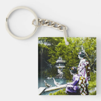 Vintage Geisha Watching Ducks in Park Old Japan Single-Sided Square Acrylic Keychain