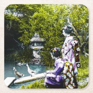Vintage Geisha Watching Ducks in Park Old Japan Square Paper Coaster