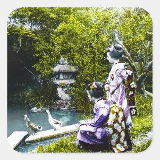 Vintage Geisha Watching Ducks in Park Old Japan Square Sticker