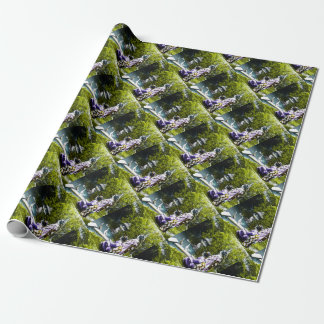 Vintage Geisha Watching Ducks in Park Old Japan Wrapping Paper