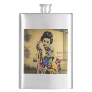 Vintage Geisha with a Cute Kitten Old Japan Flasks