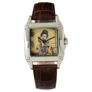 Vintage Geisha with a Cute Kitten Old Japan Watch