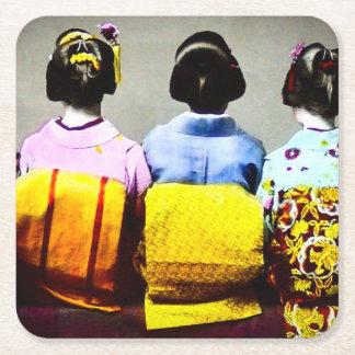 Vintage Geishas in Colorful Kimonos and Obis 2 Square Paper Coaster