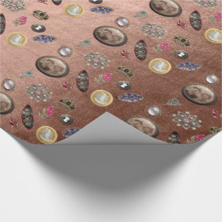 Vintage Gem Pink Rose Gold Anniversary Wrapping Paper