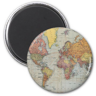 Vintage General Map of the World 2 Inch Round Magnet
