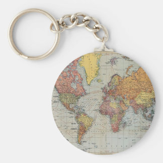 Vintage General Map of the World Basic Round Button Keychain