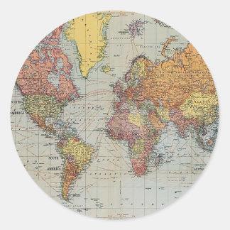 Vintage General Map of the World Round Sticker