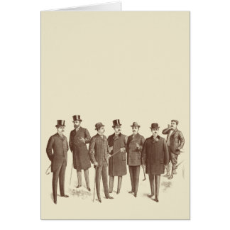 Vintage Gentlemen 1800s Men's Fashion Brown Beige Greeting Card