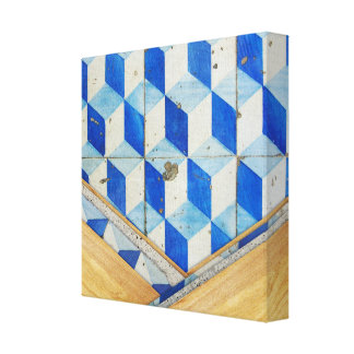 Vintage geometric 3d pattern with wood stretched canvas print