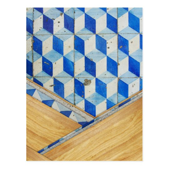 Vintage geometric 3d pattern with wood postcard
