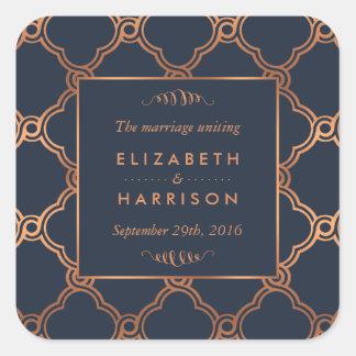 Vintage Geometric Art Deco Gatsby Wedding Favor Square Sticker