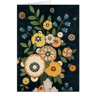 Vintage Geometric Circle Flower Abstract Botanical Card