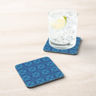 Vintage Geometric Floral Blue on Blue Coaster