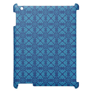 Vintage Geometric Floral Blue on Blue Cover For The iPad 2 3 4