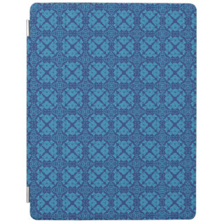 Vintage Geometric Floral Blue on Blue iPad Cover