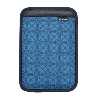 Vintage Geometric Floral Blue on Blue iPad Mini Sleeve