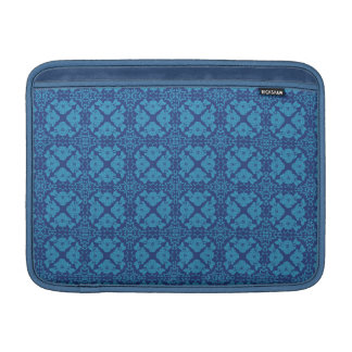 Vintage Geometric Floral Blue on Blue MacBook Sleeve