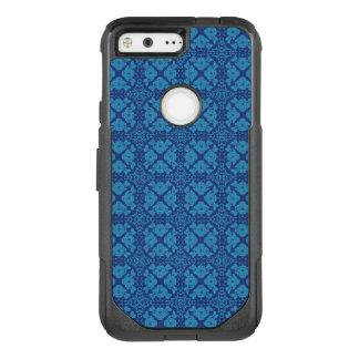 Vintage Geometric Floral Blue on Blue OtterBox Commuter Google Pixel Case