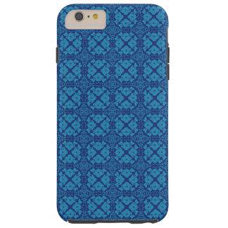 Vintage Geometric Floral Blue on Blue Tough iPhone 6 Plus Case