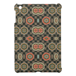 Vintage Geometric Floral on Checks Cover For The iPad Mini