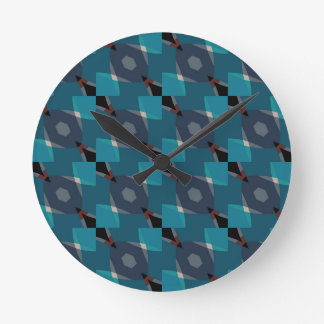 Vintage Geometric pattern Round Clock