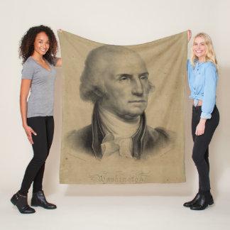 Vintage George Washington Portrait Illustration Fleece Blanket