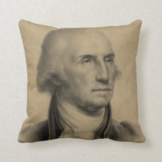 Vintage George Washington Portrait Illustration Throw Pillow