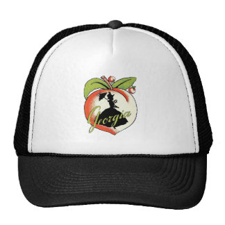 Vintage Georgia Peach Silhouette Southern Bell Trucker Hat