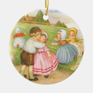 Vintage Georgie Porgie Mother Goose Nursery Rhyme Ceramic Ornament