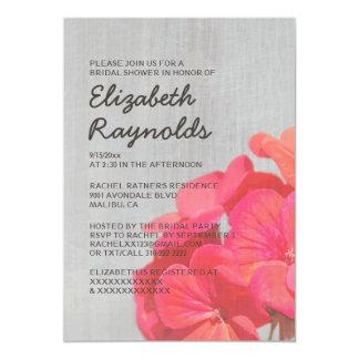 Vintage Geranium Bridal Shower Invitations