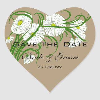 Vintage Gerber Daisy flowers Wedding Save the Date Heart Sticker