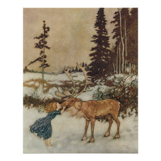 Vintage Gerda and the Reindeer by Edmund Dulac Poster