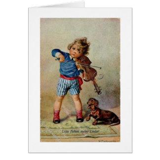 Vintage German Boy with Violin & Dachshund, Card