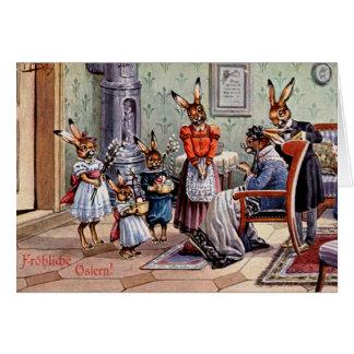 Vintage German Bunnies Visit Grandma On Easter Card