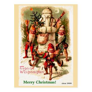 Vintage German Christmas Gnomes and Santa Snowman Postcard