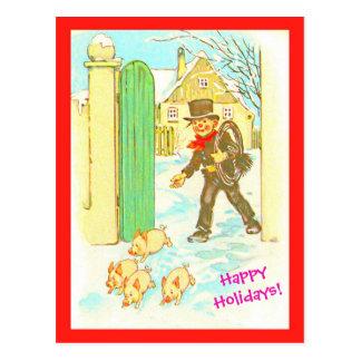 Vintage German Christmas Postcard copy Boy & Pigs