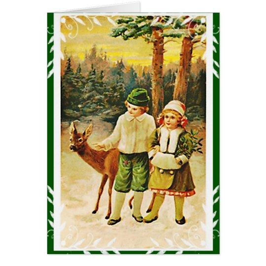 Vintage German Deer Woodland Christmas  Card