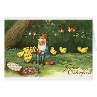Vintage German Dwarf Easter Card