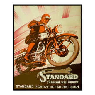 Vintage German Motorcycle Advertisement Poster