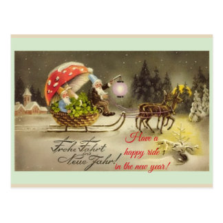 Vintage German New Year Elves Mushroom Postcard