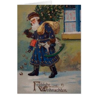 Vintage German Santa Christmas Greeting Card