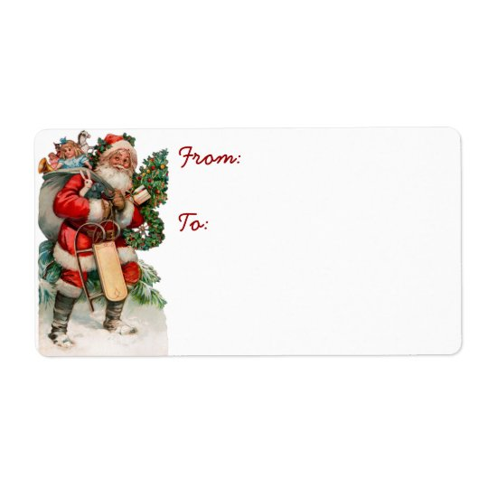 Vintage German Santa Gift Tag Labels